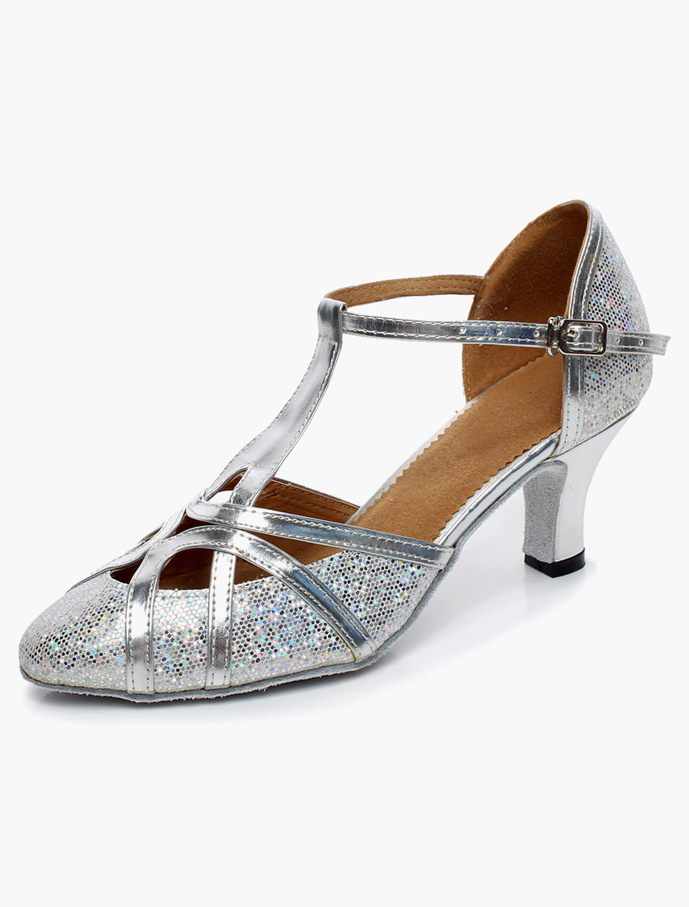 Milanoo / Silver Latin Dance Sandals Pointed Toe Glitter Ballroom Shoes for Women