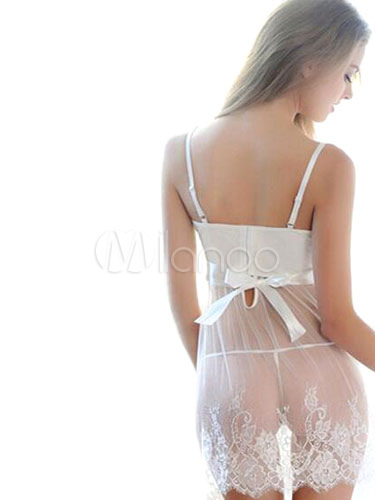 White Bows Pleated Knotted 2-Piece Chemise for Women Cheap clothes, free shipping worldwide