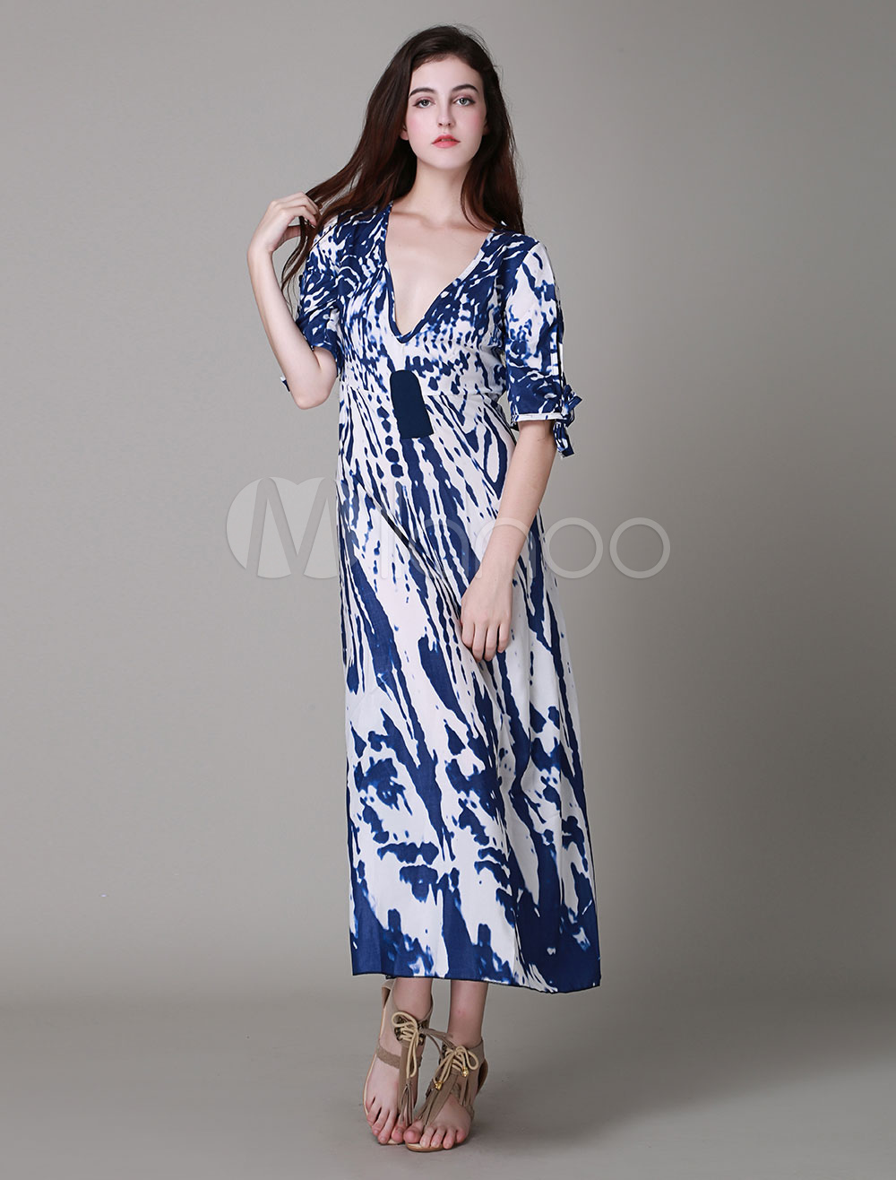 Oversized Printed Acetate Maxi Dress for Woman
