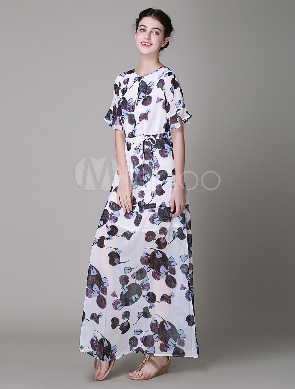 Scoop Neck Falbala High-waisted Half Sleeves Floral Maxi Dress