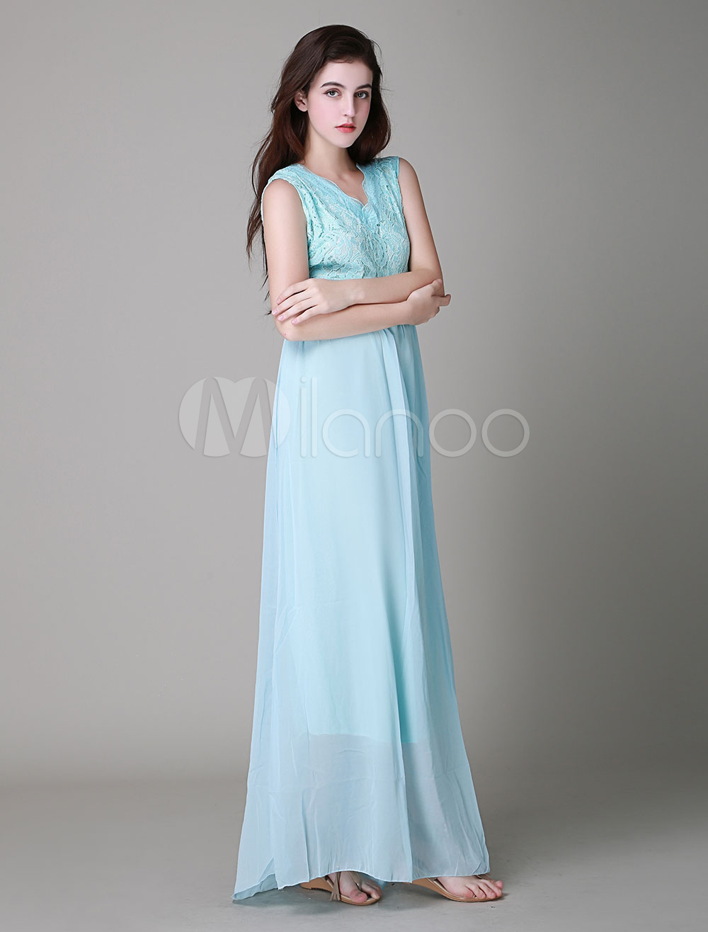 robe longue bleu en dentelle multicouche col rond. Black Bedroom Furniture Sets. Home Design Ideas