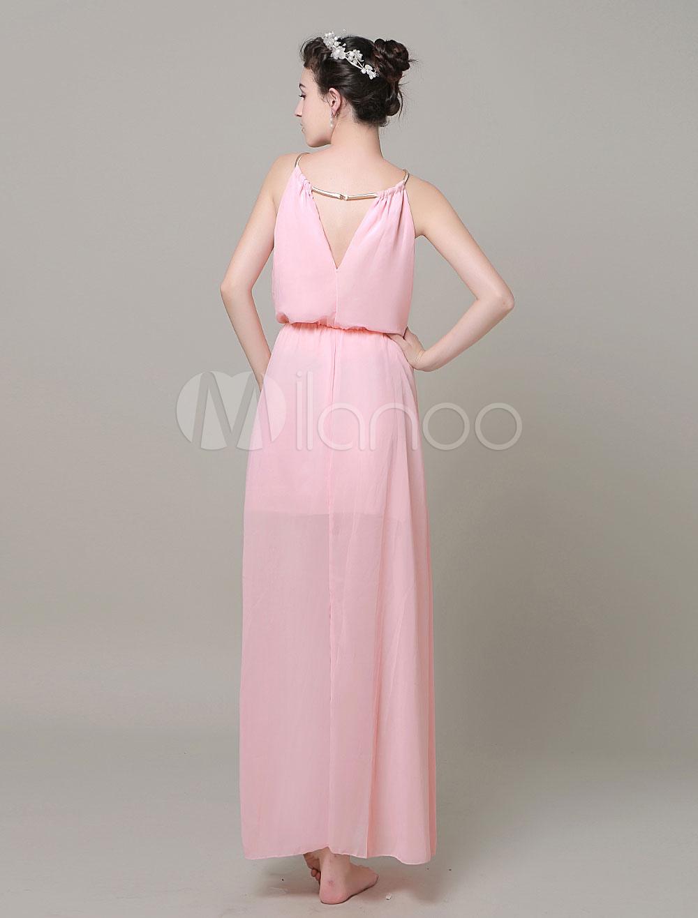 Vestido largo de chifón con escote halter de color liso detalles ...