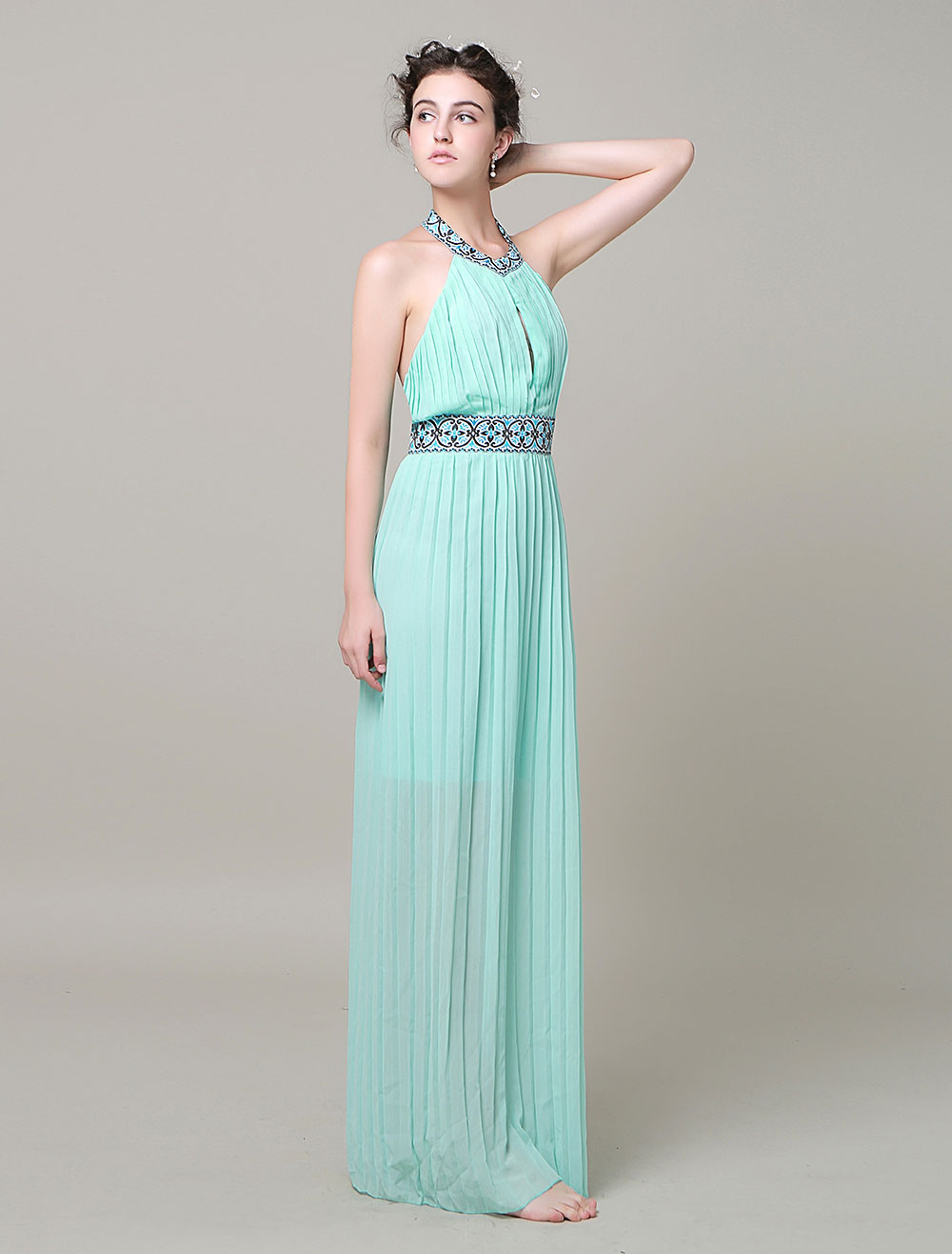 Pink Maxi Dress Backless Halter Beading Sash Chiffon Long Prom Dress ...