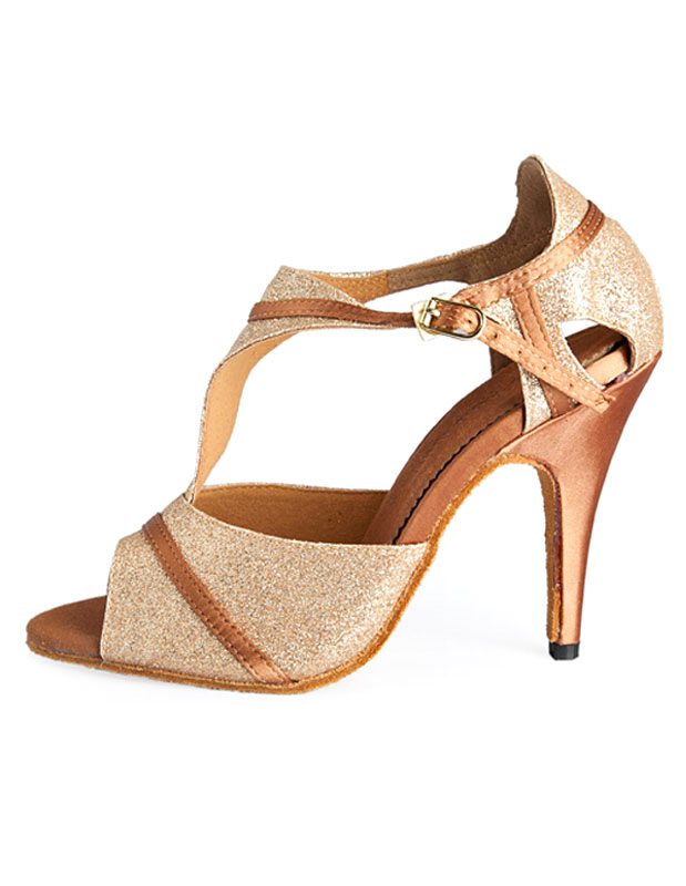 Gold T-Strap Latin Dance Shoes