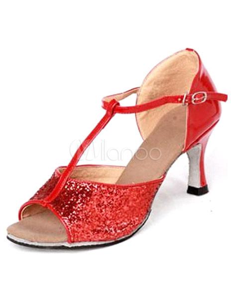 Zapatos de bailes latinos de color rojo con tira en forma de T g5ilK