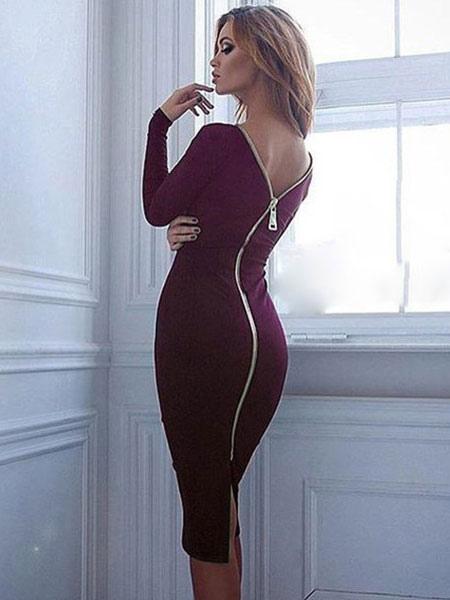 Black Bodycon Dress Long Sleeve Zipper Back Sexy Midi