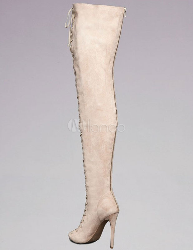 15a7afd2fc8 Nude Lace Up Sheepskin Suede Over the Knee Boots - Milanoo.com