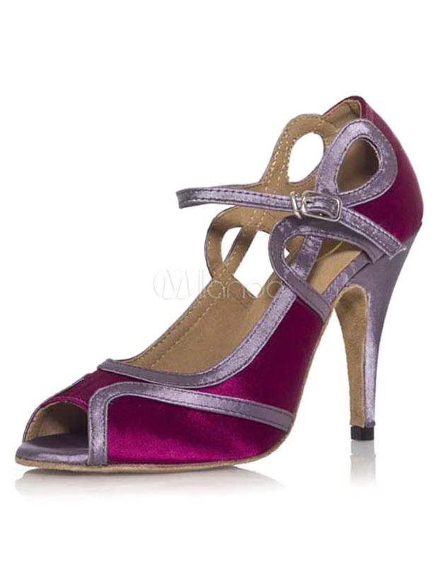 Purple Cut Out Peep Toe Latin Dance Shoes
