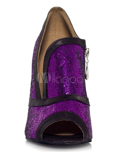 Zapatos brillantes de bailes latinos de tela con lentejuelas morados de estilo clásico hFVat