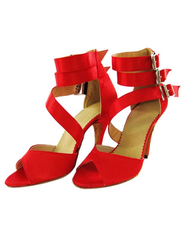Zapatos de bailes latinos de gamuza roja kJN11oz