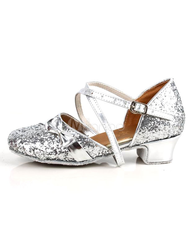 Silver Chunky Heel Glitter Woman's Latin Shoes
