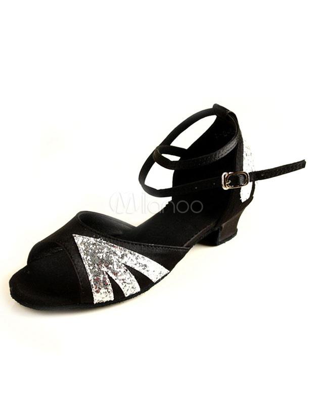 Zapatos brillantes de bailes latinos de color plateado con tiras cruzadas megWV