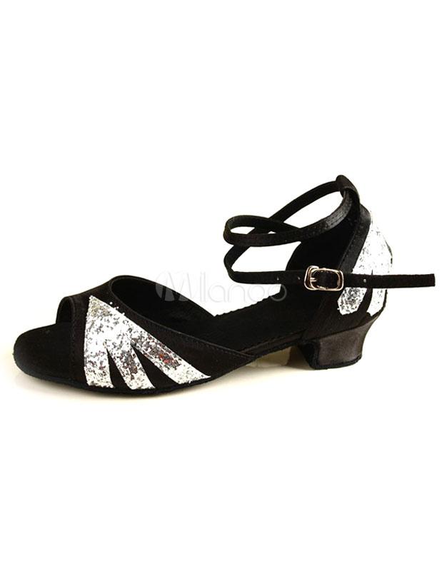 Zapatos brillantes de bailes latinos de color plateado con tiras cruzadas z6hFt0VJ