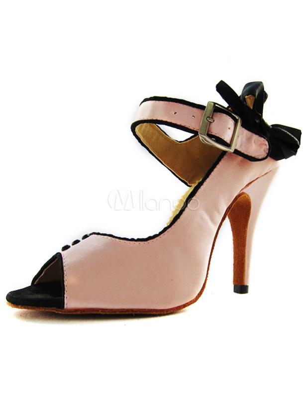 Sweet Bow Peep Toe Imitated Silk Woman's Latin Dance Shoes