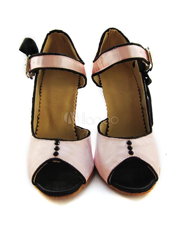 Zapatos Peep Toe de bailes latinos de seda sintética de color rosado de estilo dulce 9nJ555h0