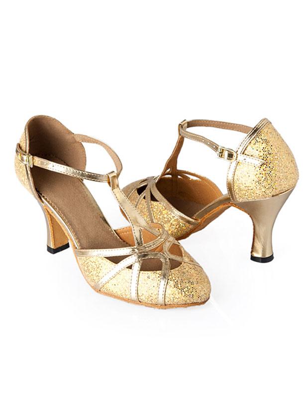 Zapatos de bailes latinos con lentejuelas doradas BmRV0TXP