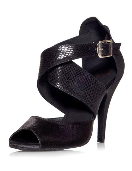 Black Buckle Peep Toe Silk and Satin Womens Latin Shoes