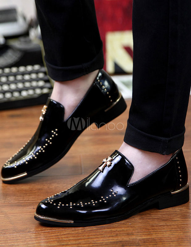 Black Dress Shoes 2018 Men Round Toe Beaded Slip On Shoes Casual Business Shoes