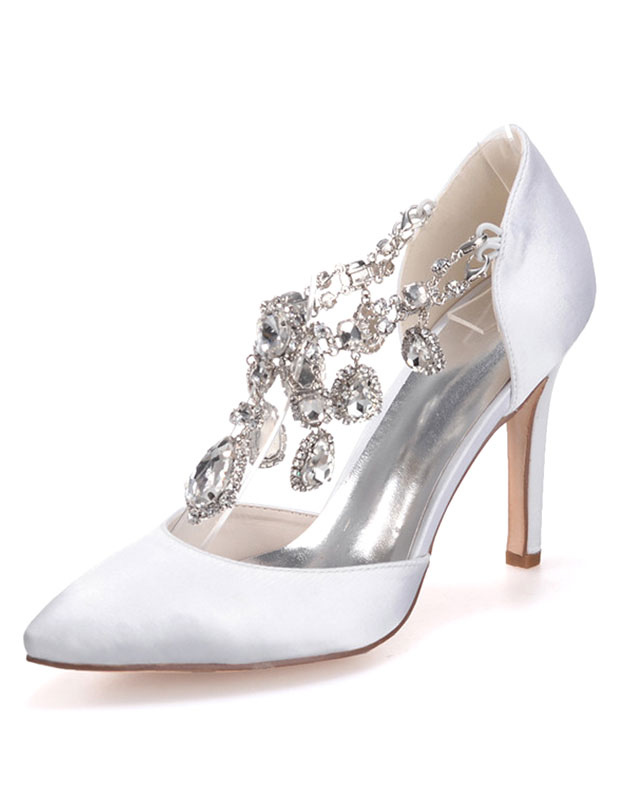 Beautiful Satin Jeweled Pointed Toe Pumps For Bride