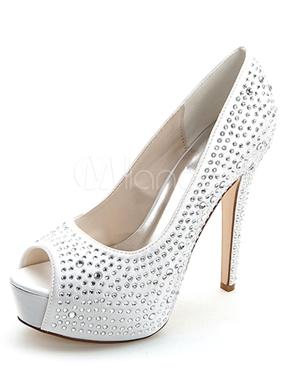 Glittery Rhinestone Peep Toe Bridal Pumps