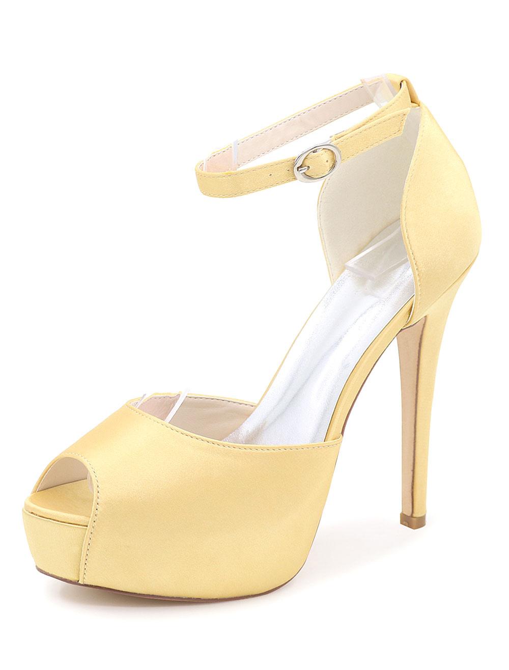Peep Toe Satin Evening and Bridal Sandals