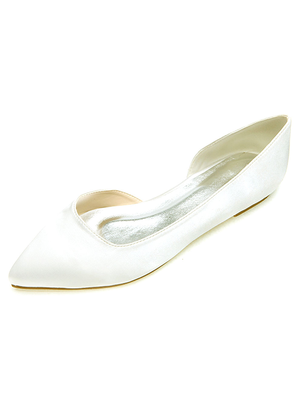 Pointed Toe Satin Evening Flats