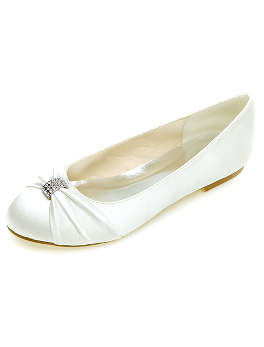 Buy Round Toe Bow Rhinestones Satin Bridal Flats for $43.69 in Milanoo store