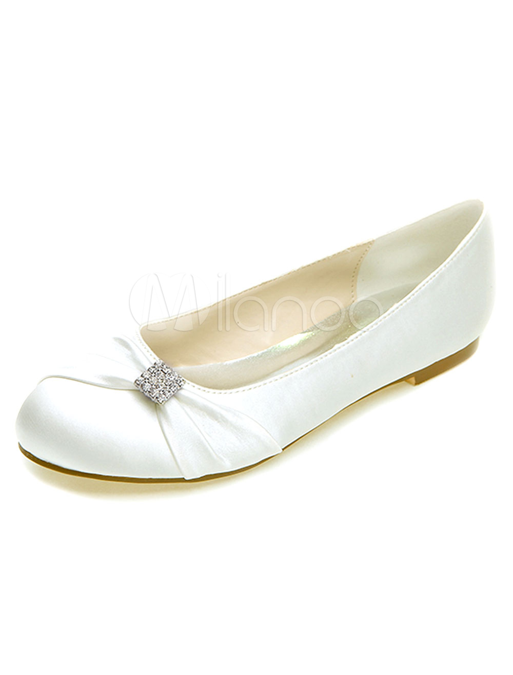 Buy Round Toe Rhinestones Satin Bridal Flats for $43.69 in Milanoo store
