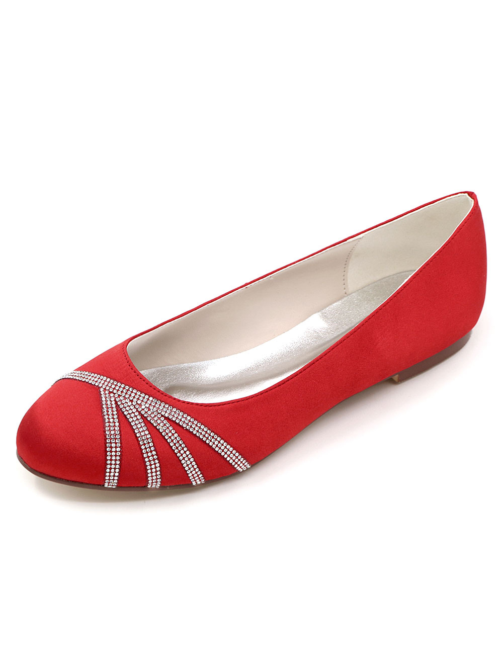 Mother Of The Bride Shoes Red Round Toe Rhinestones Satin Wedding Guest Flats