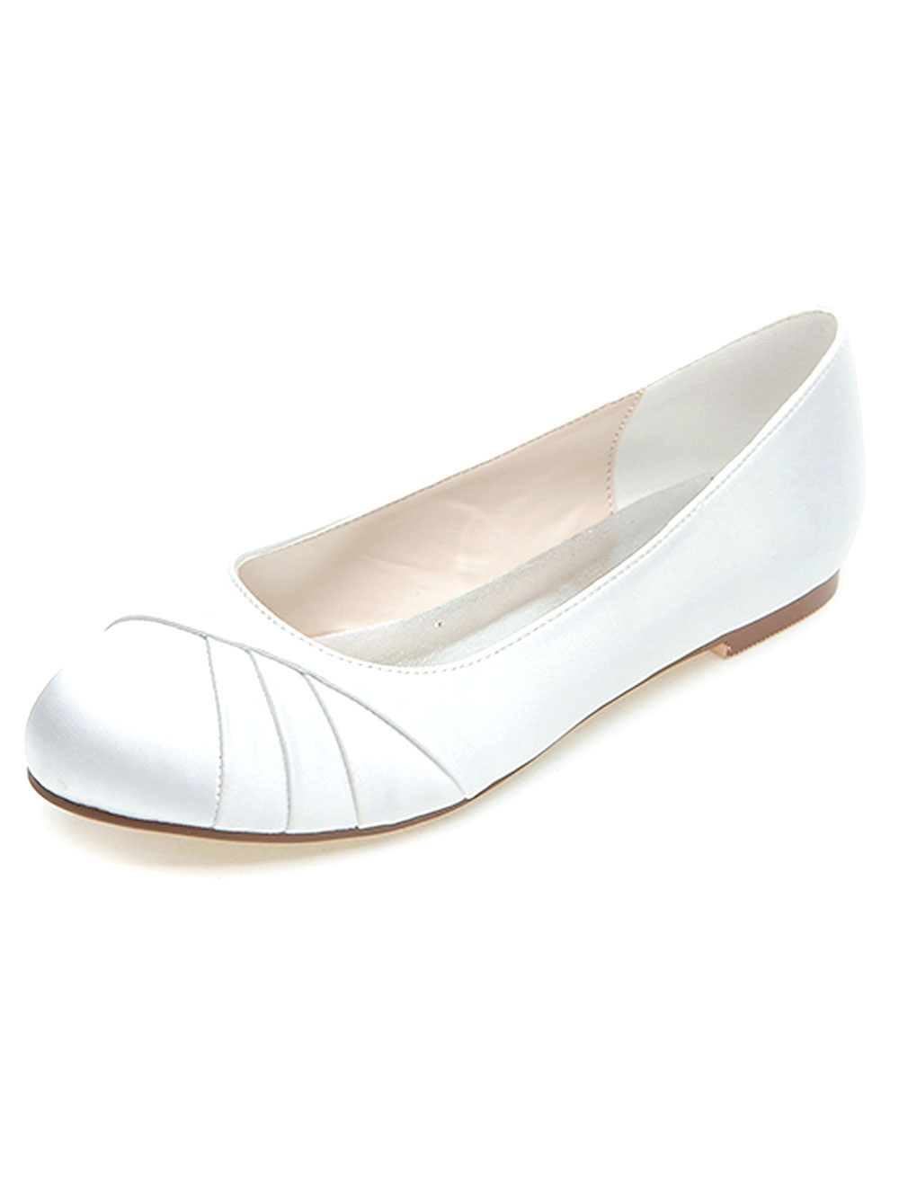 White Wedding Shoes Satin Mother Of The Bride Shoes Round Toe Slip On Bridal Shoes