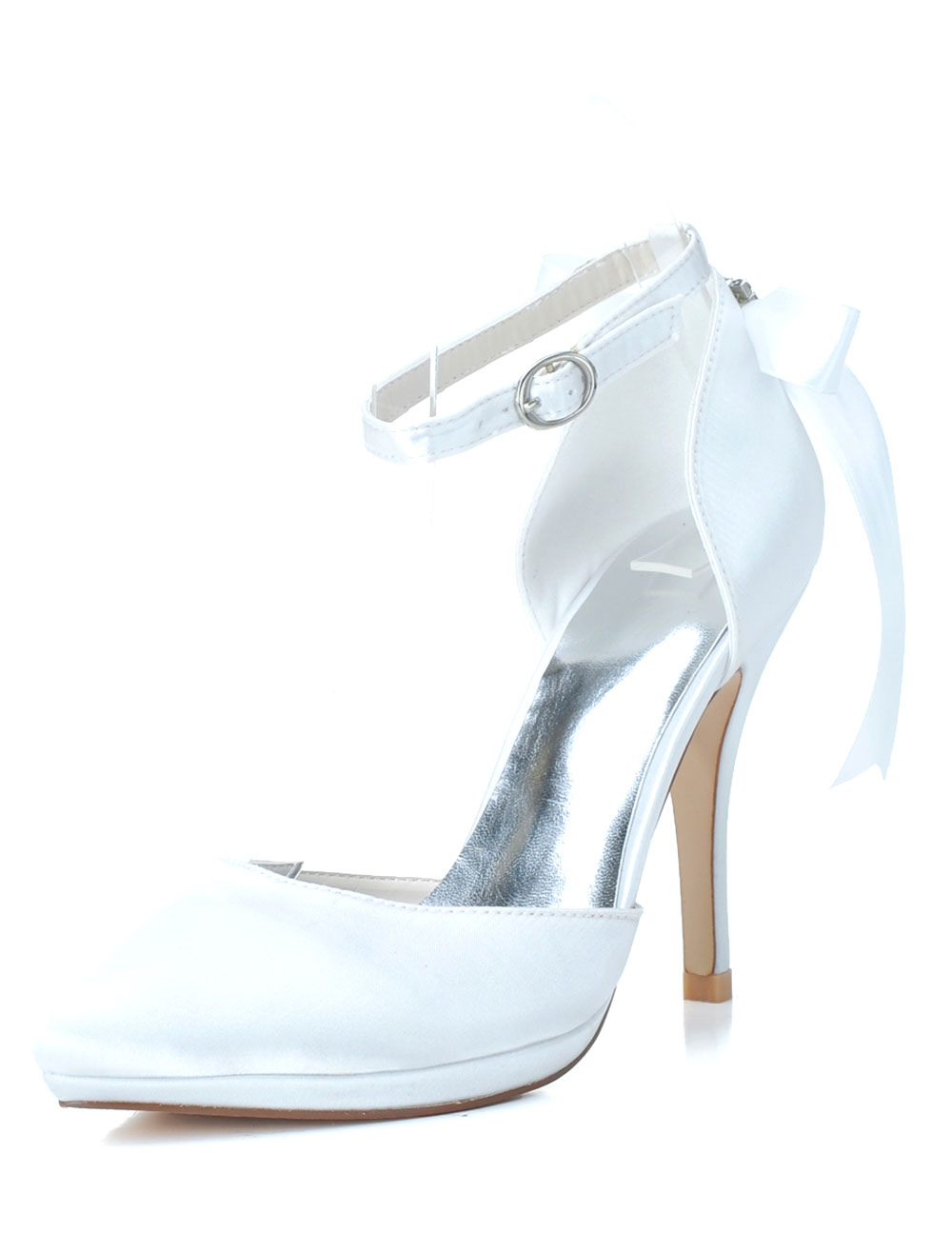 Satin Pointed Toe Ankle Strap Bows Evening and Bridal Platforms