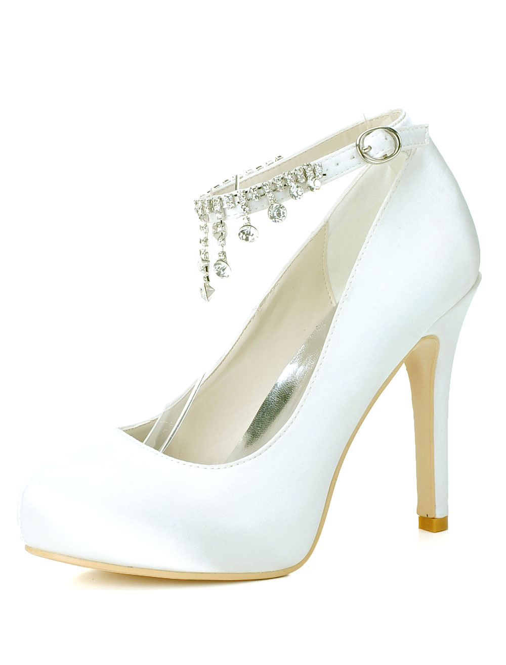 Buy Satin Round Toe Ankle Strap Rhinestones Evening and Bridal Platforms for $51.29 in Milanoo store