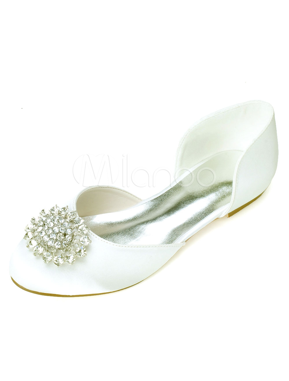 Buy Slip-On Round Toe Rhinestones Satin Bridal Flats for $43.69 in Milanoo store