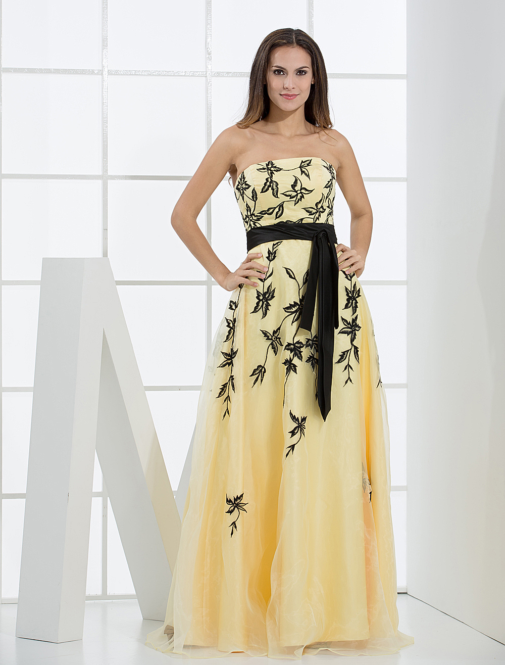 Buy Daffodil Evening Dress Floor Length A line Strapless Embroidered Prom Dress With Ribbon Sash for $154.79 in Milanoo store