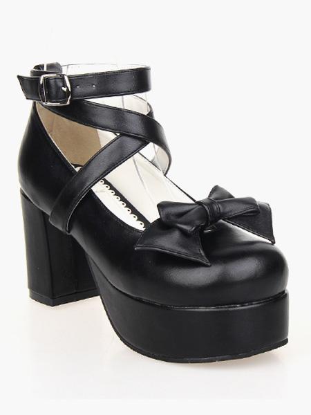 Zapatos de lolita de PU negro vPwTdqEm