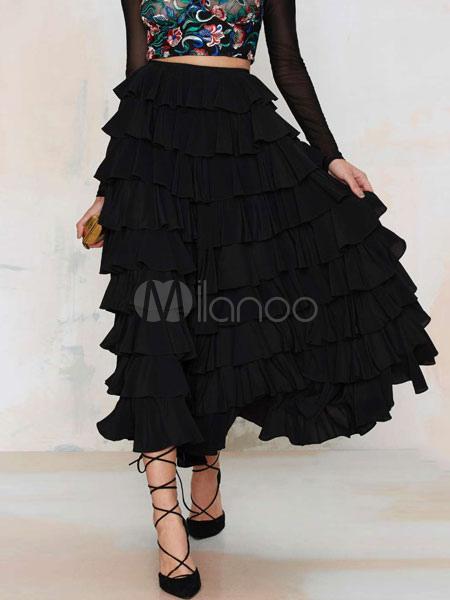 Buy Black Ruffled Maxi Skirt Womens Layered Long Skirt for $21.59 in Milanoo store