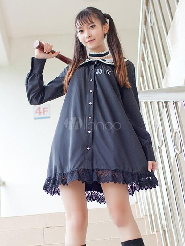 schwarze lolita kleid peter pan kragen lolita einteiliges kleid mit schwarzer spitze trimmen. Black Bedroom Furniture Sets. Home Design Ideas