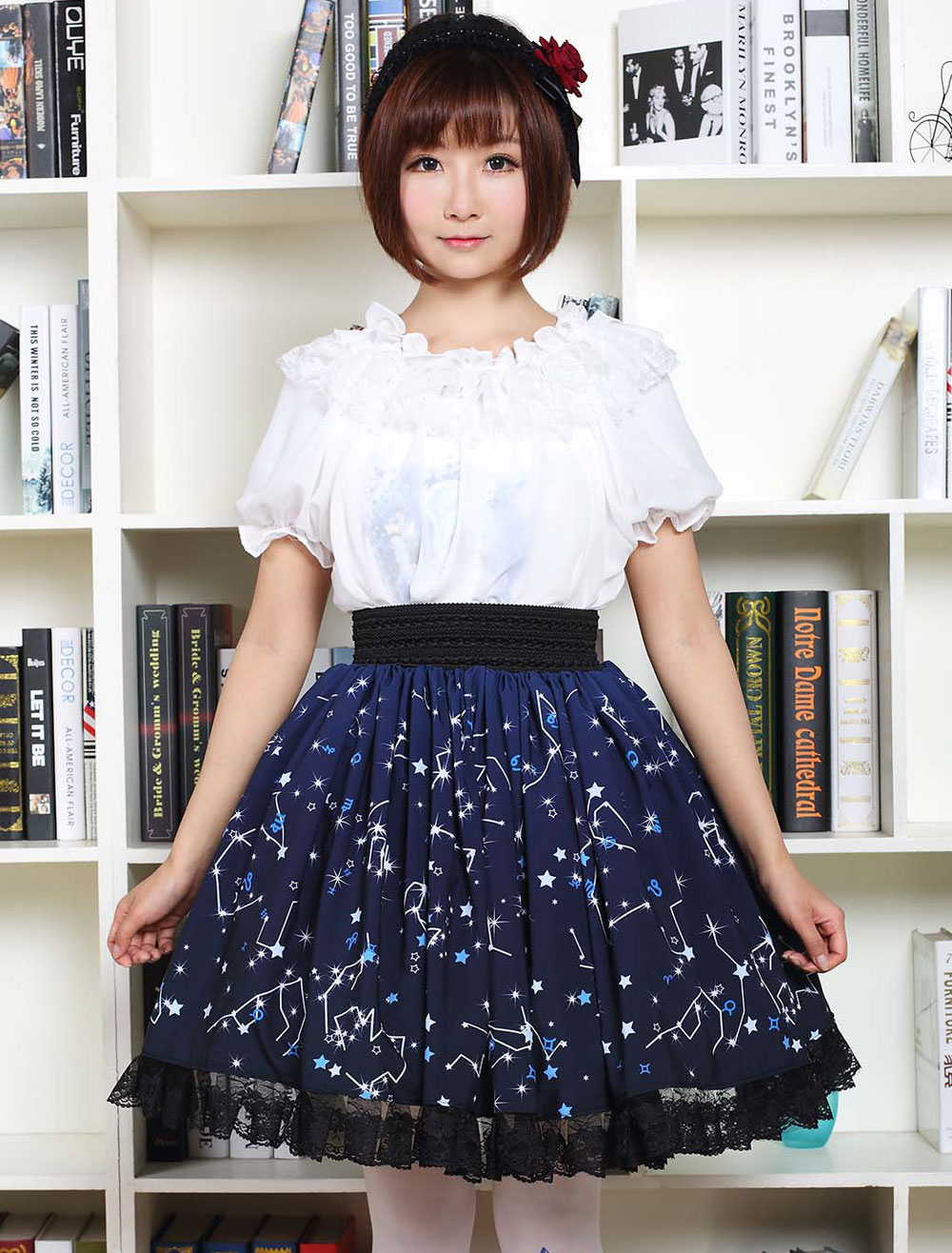 Buy Blue Lolita Dress Sweet Constellation Printed Lolita Skirt With Black Lace Trim for $35.99 in Milanoo store