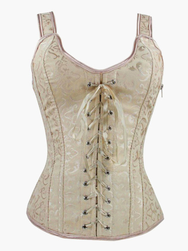 Light Gray Piping Lycra Spandex Strappy Corsets