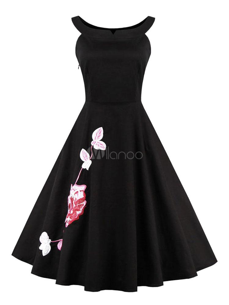 finest selection 1faa9 d4826 Piccolo vestito nero floreale stampa Retro vestito con gonna a ruota