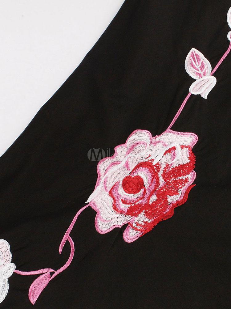 21d68c52730 ... Petite robe noire Floral imprimé rétro robe avec jupe ample-No.4