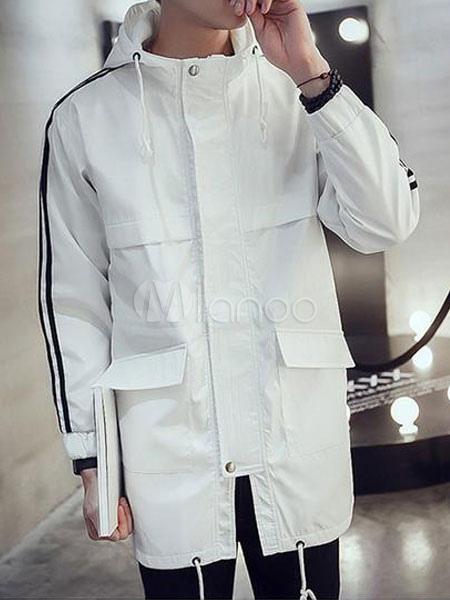 Black/White Parka Jacket For Men Hooded Coat With Pockets ...
