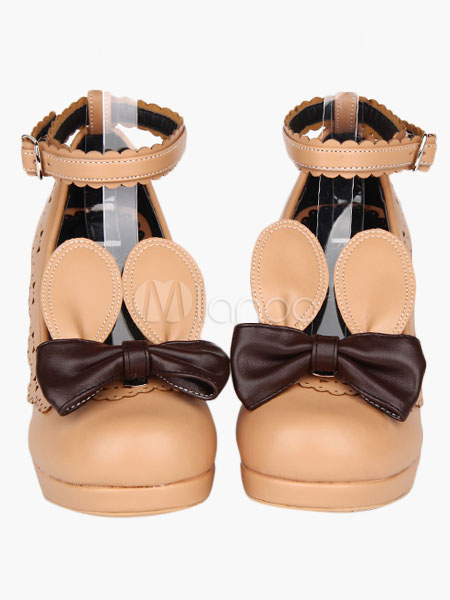 Milanoo / Beige Chunky Heels Lolita Shoes Detachable Bunny Ears Ankle Straps Bow Decor Round Toe