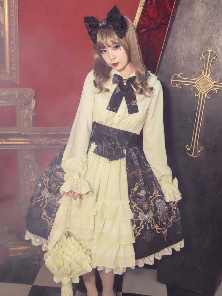 Gothic Lolita Clothing Bow Printed High Waist Lolita Skirt