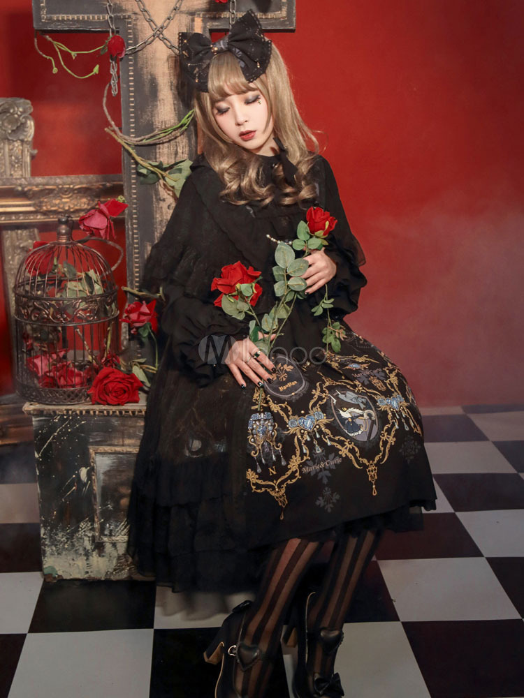 Buy Gothic Lolita Clothing Layered Ruffles Short Sleeves Chiffon Lolita Cardigans Long Vintage Chiffon Lolita Overskirt for $121.59 in Milanoo store