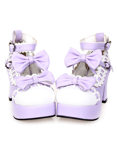 Buy Sweet Chunky Heels Lolita Shoes Platform Bows White Trim Ankle Strap Heart Shape Buckles for $51.75 in Milanoo store