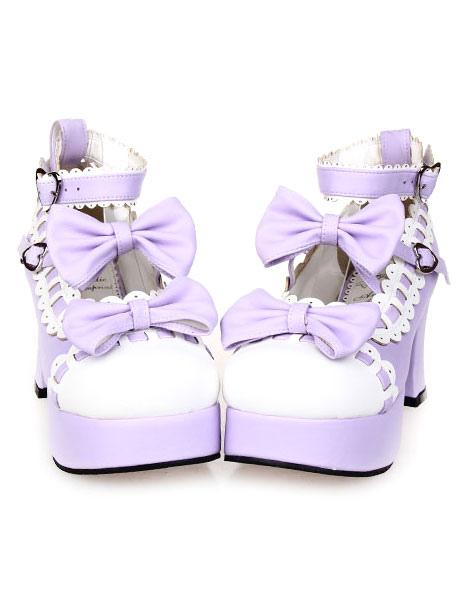 Sweet Chunky Heels Lolita Shoes Platform Bows White Trim Ankle Strap Heart Shape Buckles