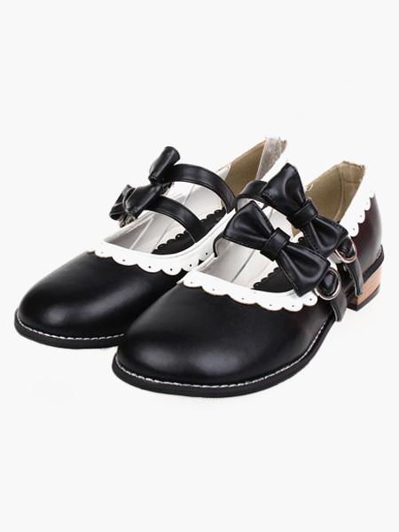 Milanoo / Sweet Low Heels Lolita Shoes Square Heels Bow Decor White Trim