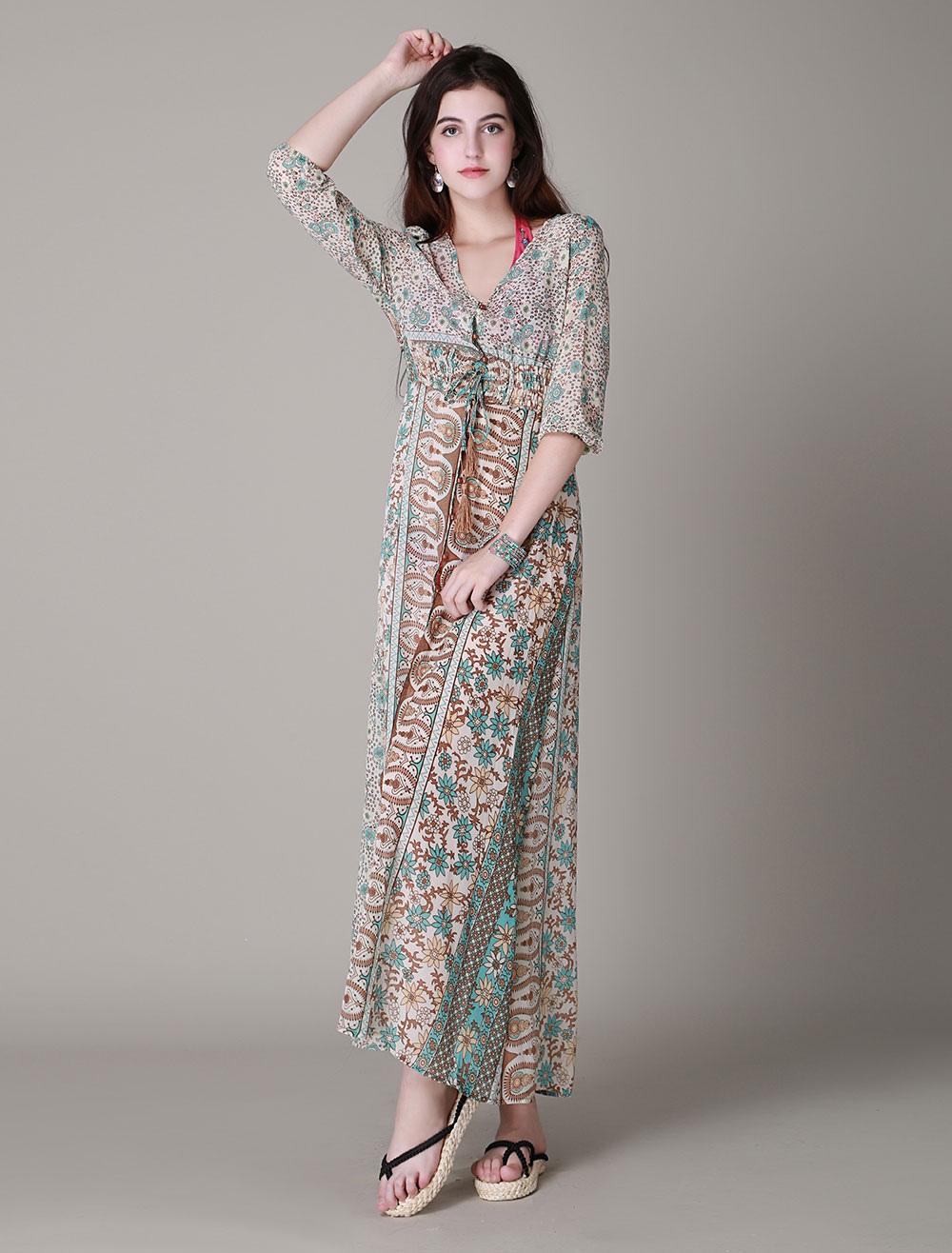 807d1b5a4a43e Long Sleeve Printed High splits BOHO Maxi Dress - Milanoo.com