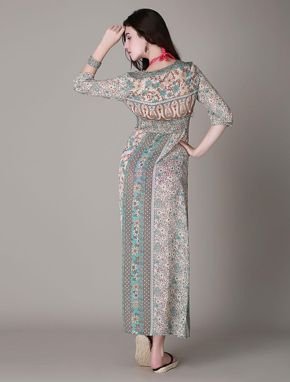 d5f3a676c628 Long Sleeve Printed High splits BOHO Maxi Dress - Milanoo.com